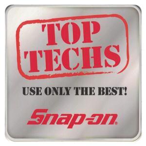 ステッカー 車 スナップオン デカール TOP TECHS USE ONLY THE BEST 角型 グレー 縦12.7×横12.7cm Snap-on シール アメリカ雑貨 アメリカン雑貨|colour