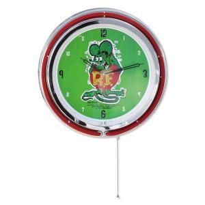 壁掛け時計 ネオンクロック ラットフィンク スタンディング ビッグネオンクロック 直径42cm アメリカ雑貨 アメリカン雑貨|colour
