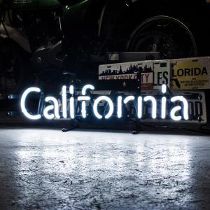 アメリカンネオンサイン CALIFORNIA カリフォルニア 文字デザイン 縦17×横53cm 西海岸 インテリア ガレージ ネオン管 店舗装飾 アメリカ雑貨|colour