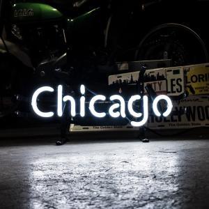 アメリカンネオンサイン Chicago シカゴ 文字デザイン 縦17×横39.5cm バー ガレージ インテリア ネオン管 電飾 店舗装飾 アメリカ雑貨|colour