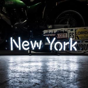 アメリカンネオンサイン New York ニューヨーク 文字デザイン 縦17×横54cm バー ガレージ インテリア ネオン管 電飾 店舗装飾 アメリカ雑貨|colour