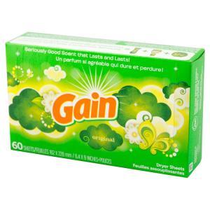 柔軟剤 ゲイン シート柔軟剤 オリジナル 60枚 GAIN 乾燥機用柔軟シート 日用品 アメリカ雑貨 アメリカン雑貨|colour