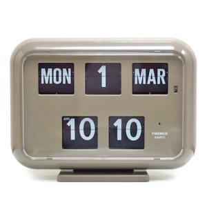トゥエンコ デジタル カレンダー クロック #QD-35 グレー TWEMCO 壁掛け時計 置き時計 パタパタクロック インテリア アメリカ雑貨 colour