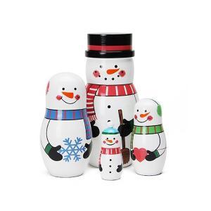 置物 マトリョーシカ スノーマンファミリー クリスマス オブジェ オーナメント インテリア雑貨|colour
