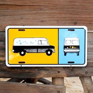 CMプレート「バス オレンジ&ブルー」 CM125 /看板/アメリカン雑貨/ colour