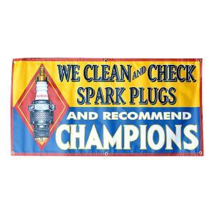 ガレージバナー CHAMPION チャンピオン 縦60×横120cm セールスバナー タペストリー 壁面ディスプレー アメリカ雑貨 アメリカン雑貨|colour