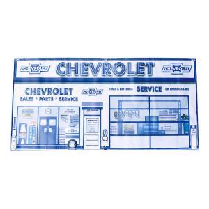 ガレージバナー Chevrolet Service シボレーサービス 縦60×横120cm セールスバナー タペストリー 壁面ディスプレー アメリカ雑貨 アメリカン雑貨|colour