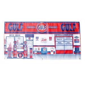 ガレージバナー Gulf Service ガルフサービス 縦60×横120cm セールスバナー タペストリー 壁面ディスプレー アメリカ雑貨 アメリカン雑貨|colour