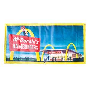 ガレージバナー McDonald's Hamburger マクドナルド ハンバーガー 縦60×横120cm セールスバナー タペストリー 壁面ディスプレー アメリカ雑貨 アメリカン雑貨|colour