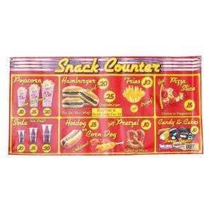 ガレージバナー Snack Counter スナックカウンター 縦60×横120cm セールスバナー タペストリー 壁面ディスプレー アメリカ雑貨 アメリカン雑貨|colour