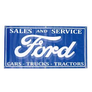 ガレージバナー FORD SALES AND SERVICE フォードセールス 縦60×横120cm セールスバナー タペストリー 壁面ディスプレー アメリカ雑貨 アメリカン雑貨|colour