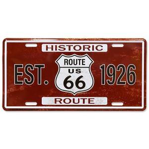 ライセンスプレート EST.Route 66 1926 ルート66 ナンバープレート型看板 縦15.5×横30.5cm アルミ製 アメリカ雑貨 アメリカン雑貨 colour