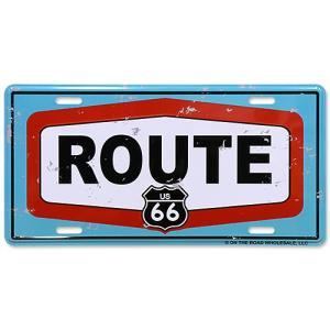 ライセンスプレート Route 66 BL/RD/WH ルート66 ナンバープレート型看板 66-AD-LP008 縦15.5×横30.5cm アルミ製 CMプレート アメリカ雑貨 アメリカン雑貨 colour