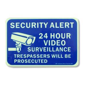 セキュリティサインステッカー 「24 HOUR VIDEO」縦10×横15cm 蓄光タイプ 防犯シール アメリカ雑貨|colour