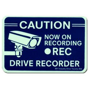 セキュリティサインステッカー 「CAUTION DRIVE REC」縦7.7×横11cm 蓄光タイプ 防犯シール アメリカ雑貨|colour