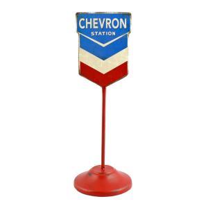 看板 デスクトップサイン CHEVRON / シェブロン 縦15×直径10cm 看板幅12.5cm 自立看板 アメリカ雑貨|colour