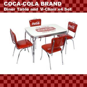 COCA-COLA BRAND コカコーラブランド ダイナーテーブル&Vバックチェア×4脚セット(PJ-600DL、PJ-50HC×4)代引き不可商品|colour