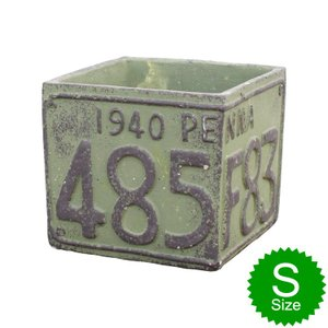 植木鉢 ナンバープレートデザイン Sサイズ グリーン プランター テラコッタ ポット アメリカ雑貨 アメリカン雑貨 colour
