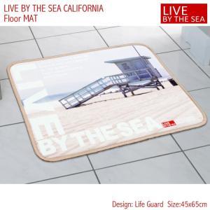フロアマット バスマット 45×65cm Live By The Sea CALIFORNIA 「ライフガード 」No.81839 西海岸 カリフォルニア アメリカ雑貨 アメリカン雑貨|colour