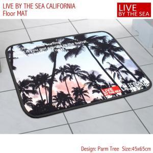 フロアマット バスマット 45×65cm Live By The Sea CALIFORNIA 「パームツリー」No.81840 西海岸 カリフォルニア アメリカ雑貨 アメリカン雑貨|colour
