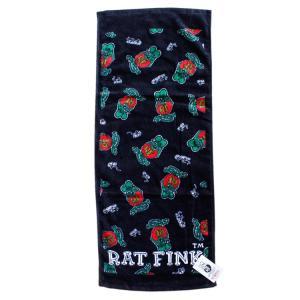 フェイスタオル Rat Fink ラットフィンク ブラック STPRF002 34×80cm 綿100% スポーツ アメリカ雑貨 アメリカン雑貨|colour