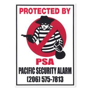 ステッカー セキュリティサイン 「PROTECTED BY PSA」デカール 縦14×横10.2cm 防犯シール アメリカ雑貨 西海岸インテリア|colour