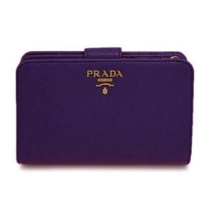 プラダ 財布 1ML225 L字ミディアムジップ財布 サッフィアーノ VIOLA ヴィオレ カーフヴァイオレット ゴールドロゴ アウトレット|come
