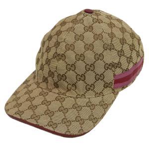 グッチ 帽子 200043-9794 キャップ レディース ベースボール GGキャンバス ベージュxカーフレッド ウェビング レッドxピンク Mサイズ|come