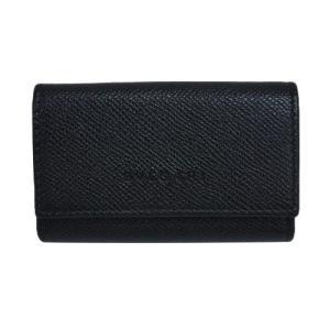 ブルガリ キーケース 20864  6連キーケース チェーン付き ロゴ カーフ ブラック シルバー金具|come