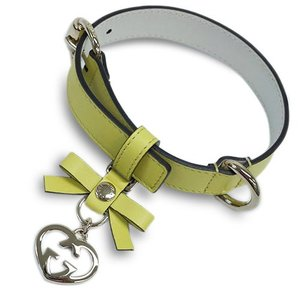 グッチ 首輪 247245-7209 アクセサリー ペット 犬の首輪 Mサイズ リボン+ラブリー カーフ カナリアイエロー わけあり|come