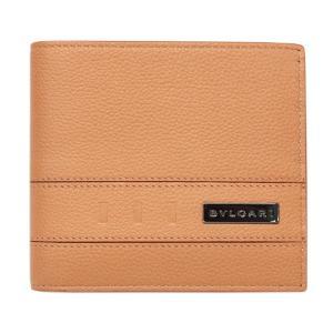 ブルガリ 財布 282827 メンズ 二つ折り小銭付き財布 BVLGARI BVCKLE カーフ ゴールデンアンバーxデニムサファイア|come
