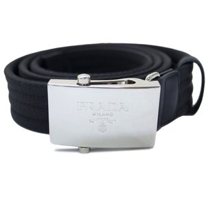 プラダ ベルト 2CN004 メンズ シルバーバックル ナイロン ブラック 95サイズ アウトレット|come