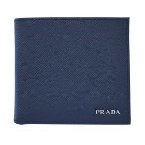 プラダ 財布 2M0738 メンズ 二つ折り 小銭入れ付き サッフィアーノ BALTICO+NERO カーフネイビー+ブラック シルバーロゴ アウトレット|come