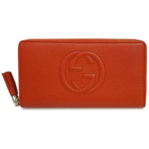 グッチ 財布 308004-7527 ラウンドファスナー長財布 ソーホー 型押しカーフ オレンジ|come