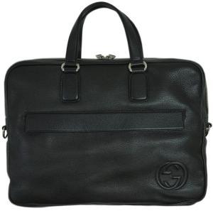グッチ バッグ 322057-1000 2WAY ブリーフケース ビジネス ストラップ付き ソーホー 型押しカーフ ブラック アウトレット|come