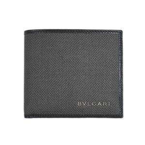 ブルガリ 財布 32581 メンズ 二折り小銭付き財布 ウィークエンド SVロゴ コーティングキャンバス ブラックxブラック|come