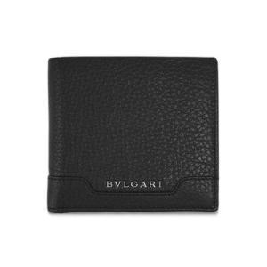 ブルガリ 財布 33403 メンズ 二折り小銭付き財布 シルバー金具 カジュアルグレインカーフ ブラック|come