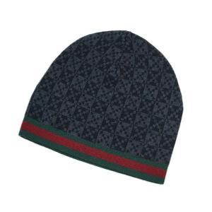 グッチ 帽子 347988-1261 ニットキャップ トリコット ウール100% ディアマンテ ミックスグレー ウェビング グリーンxレッド|come