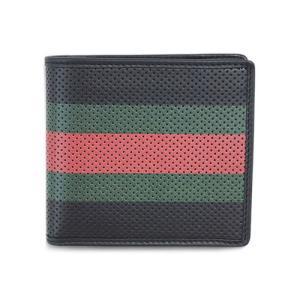 グッチ 財布 352261-1073 メンズ 二つ折り小銭付き ウェビング レッドxグリーン パンチングカーフ ブラック|come
