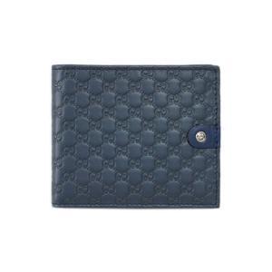 グッチ 財布 365477-4179 メンズ 二つ折り 札入れ Gボタン マイクログッチッシマ ネイビーxカーフ ブルーグレー|come