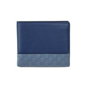 グッチ 財布 365486-4261 GUCCI メンズ 二つ折り 札入れ マイクログッチッシマxカーフ ブルー/スカイブルー|come