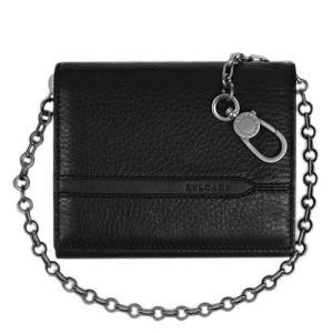 ブルガリ 財布 36971 メンズ 三つ折り財布 小銭入れ チェーンストラップ付き BVLGARIロゴ グレインカーフ ブラック|come