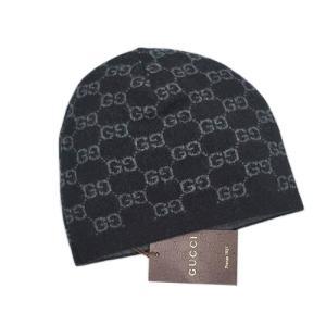 グッチ 帽子 387577-1062 ニットキャップ GG カシミア100% ブラック/グレー|come