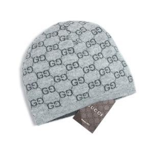 グッチ 帽子 387577-1461 ニットキャップ GG カシミア100% ライトグレー/グレー|come