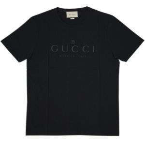 グッチ Tシャツ アウトレット 441685-1000 メンズ 半袖 丸首 プリント ロゴ ブラック|come