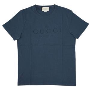 グッチ Tシャツ アウトレット 441685-4113 メンズ 半袖 丸首 プリント ロゴ ダークブルー|come