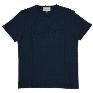 グッチ Tシャツ アウトレット 441685-4440 メンズ 半袖 丸首 プリント ロゴ ネイビー Mサイズ|come