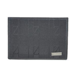 ゼニア カードケース E0573A Z Zegna ジー・ゼニア メンズ シンプル  名刺入れ ロゴプレート キャンバス/レザー ブラック アウトレット|come