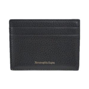 ゼニア 財布 E1072X エルメネジルド・ゼニア メンズ マネークリップ 札入れ カードケース レザー ブラック アウトレット|come
