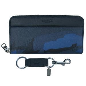 コーチ 財布 F22530-DYB メンズ 長財布+キーリング アコーディオン ウォレット ウィズ カモ プリント ブルーカモ/ブラック アウトレット|come